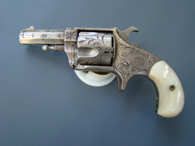 2099P Hopkins & Allen XL No. 5, 38 cal. Engraved, Silver Plated, Pearl Grips.