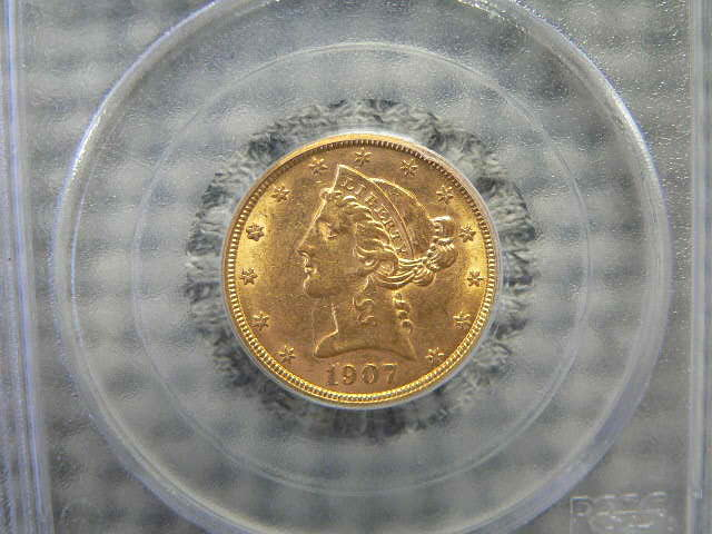 #C347 Liberty 1907 Half Eagle Five Dollar PCGS AU55 Gold